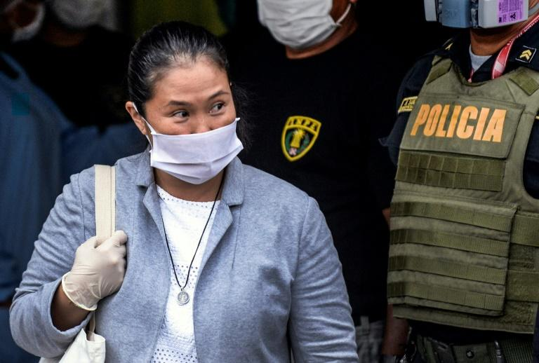 Peruvian politician Keiko Fujimori wears a face mask -- against the spread of the COVID-19 coronavirus -- while leaving Santa Monica jail in Lima on May 04, 2020