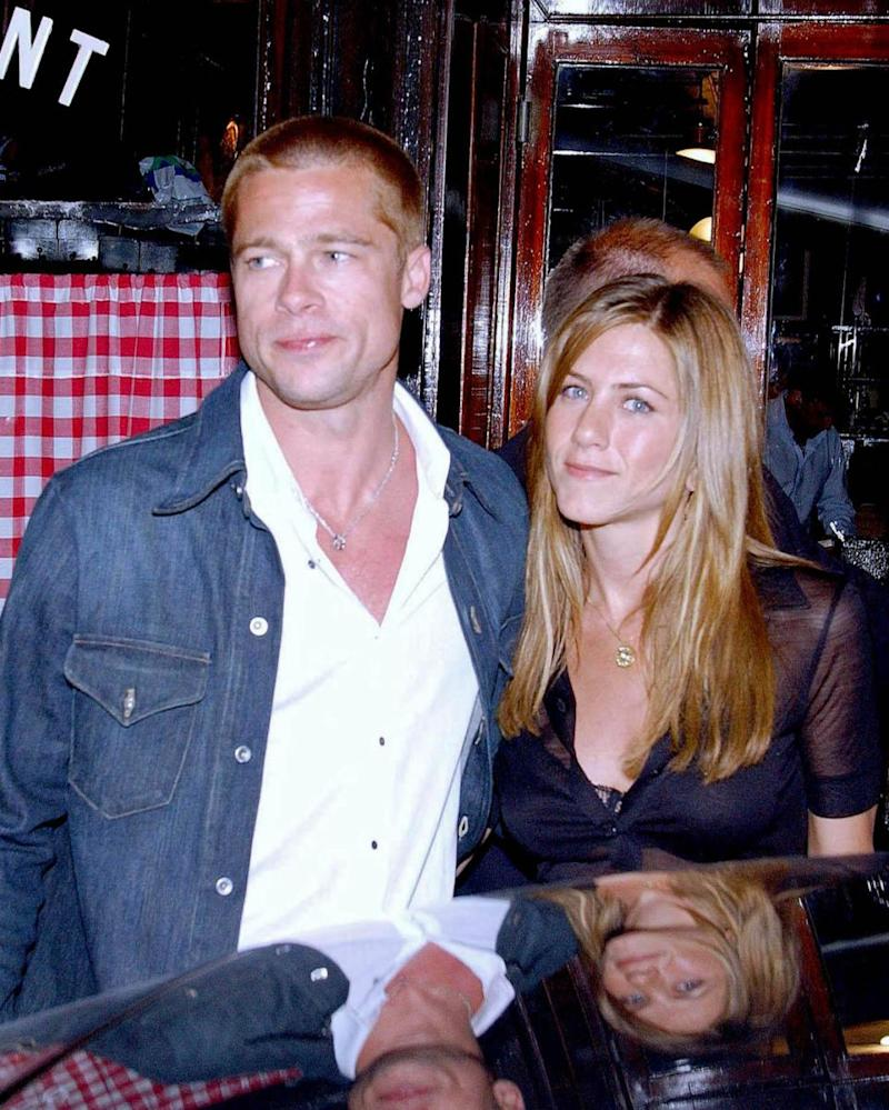 Jen and Justin's split comes in the wake of reports that Brad and Jen will be reuniting - Brad and Jen pictured here in Paris together in 2004. Source: Getty