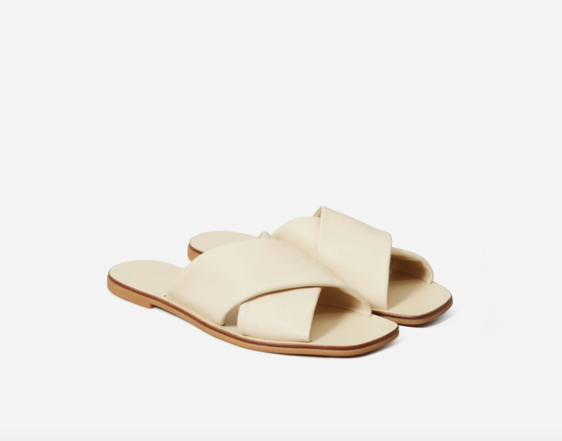 The Day Crossover Sandal in Cream. Image via Everlane.