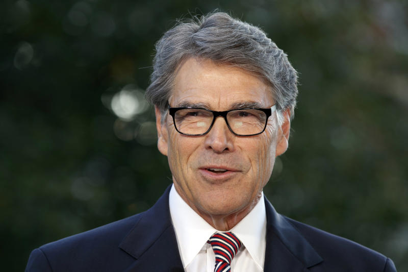"FILE - In this Oct. 23, 2019, file photo, outgoing Energy Secretary Rick Perry is interviewed at the White House in Washington. The ""three amigos"" used to mean just one thing in Washington -- the trio of globe-trotting senators led by John McCain who brought American idealism to the trouble spots of the world. Now, it refers to another trio, the Trump envoys pushing Ukraine to pursue investigations of Democrats and Joe Biden. (AP Photo/Jacquelyn Martin, File)"