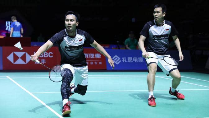 Aksi Mohammad Ahsan/Hendra Setiawan pada perempat final China Terbuka 2019. (dok. PBSI)