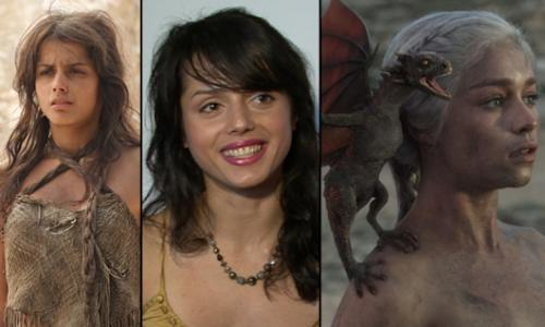 Amrita Acharia as Irri; Amrita in her Access Hollywood interview; Emilia Clarke as Daenerys in 'Game of Thrones' -- Paul Schiraldi/HBO/Access Hollywood