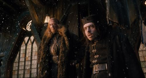 "This image released by Warner Bros. Pictures shows Stephen Fry, left, and Ryan Gage in a scene from ""The Hobbit: The Desolation of Smaug."" (AP Photo/Warner Bros. Pictures)"
