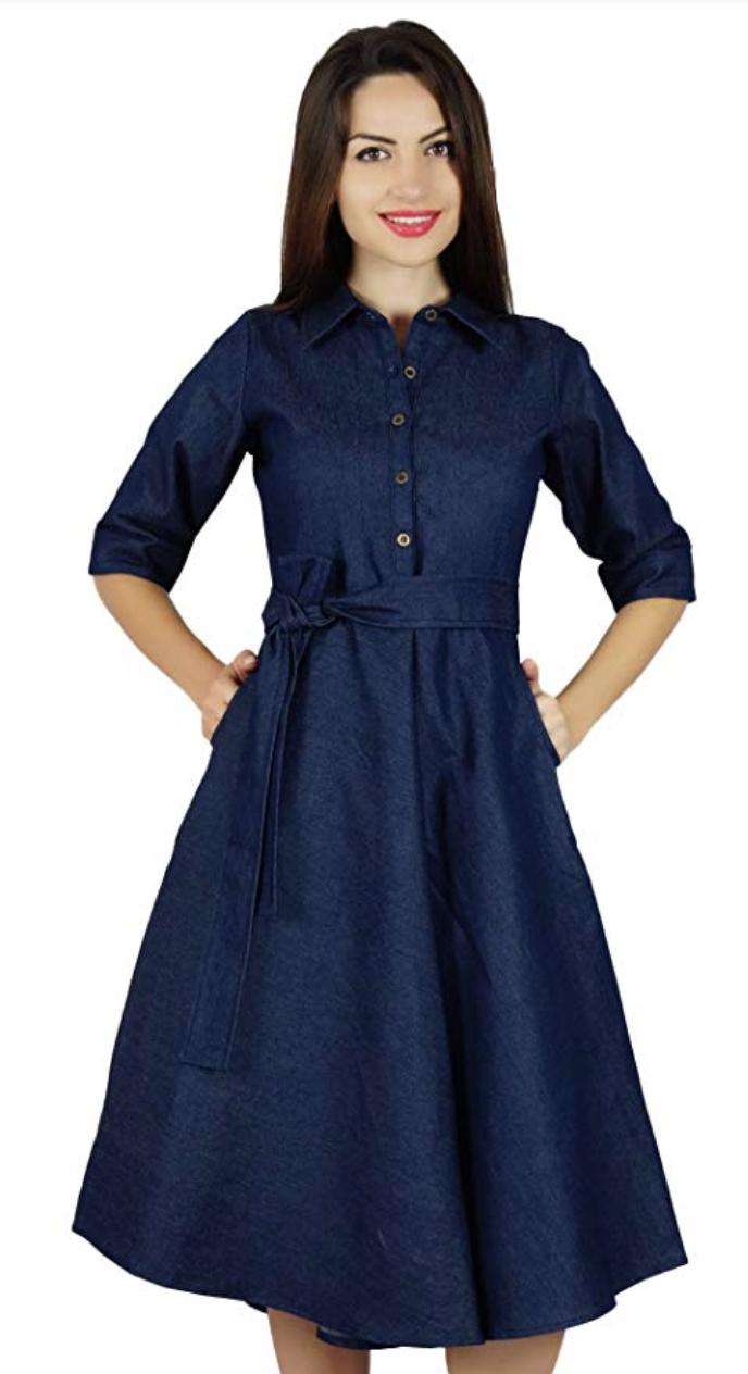 Bimba Womens Blue Denim Shirt Dress. (Photo: Amazon)