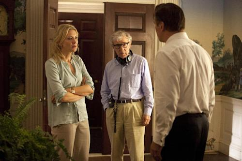 """This publicity image released by Sony Pictures Classics shows, actress Cate Blanchett, left, director Woody Allen, center, and Alec Baldwin on the set of """"Blue Jasmine."""" (AP Photo/Sony Pictures Classics)"""