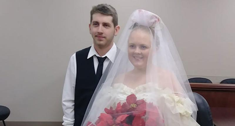 Harley Joe Morgan, 19, and his 20-year-old bride, Rhiannon Boudreaux Morgan, are pictured at their wedding in Texas.