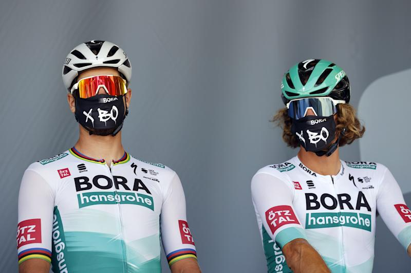 Tour de France 2020 - 107th Edition - 19th stage Bourg-en-Bresse - Champagnole 166,5 KM - 18/09/2020 - Peter Sagan (SVK - Bora - Hansgrohe) - Daniel Oss (ITA - Bora - Hansgrohe) - photo POOL/BettiniPhoto©2020
