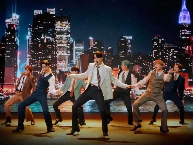 BTS perform their single 'Dynamite' at the VMAs (AP)