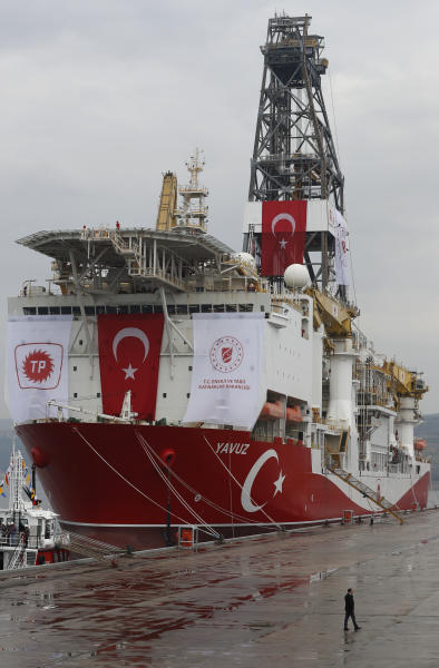FILE - In this file photo dated Thursday, June 20, 2019, a view of the drilling ship 'Yavuz' scheduled to be dispatched to the Mediterranean, at the port of Dilovasi, outside Istanbul.  The leaders of Greece, Israel and Cyprus are set to sign a deal Thursday Jan. 2, 2020, for a 1,900-kilometer (1,300-mile) undersea pipeline that will carry gas from new offshore deposits in the southeastern Mediterranean to continental Europe. (AP Photo/Lefteris Pitarakis)