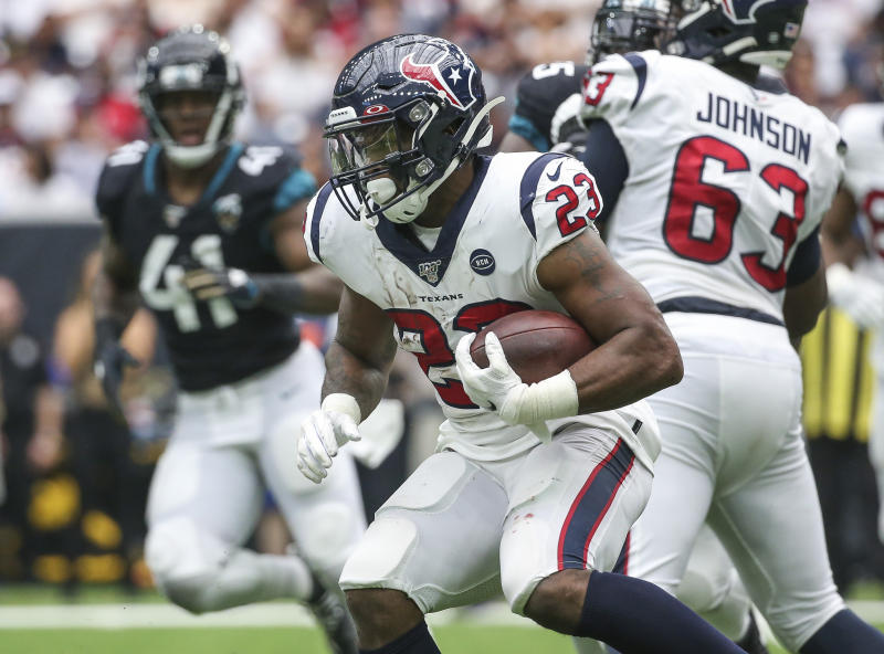 Sep 15, 2019; Houston, TX, USA; Houston Texans running back Carlos Hyde (23) runs with the ball during the third quarter against the Jacksonville Jaguars at NRG Stadium. Mandatory Credit: Troy Taormina-USA TODAY Sports