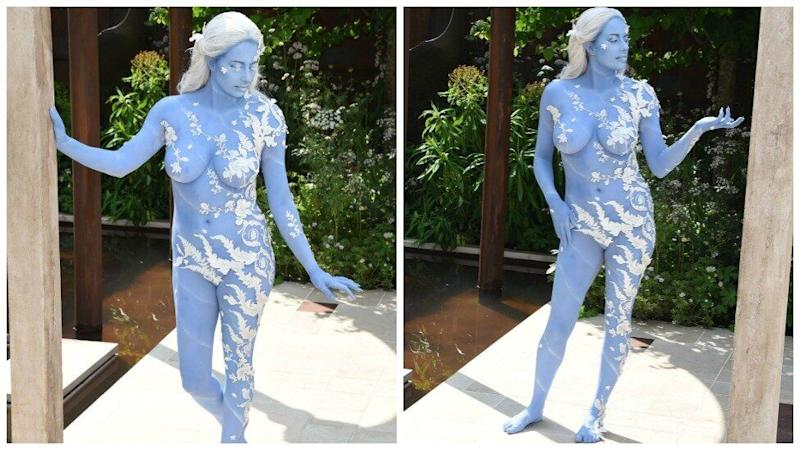 Naked model Alexandra Ford in body paint at RHS Chelsea Flower Show 2019