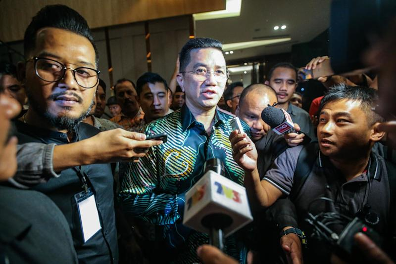 PKR deputy president Datuk Seri Azmin Ali speaks to the media at the Sheraton Hotel in Petaling Jaya February 23, 2020. — Picture by Hari Anggara