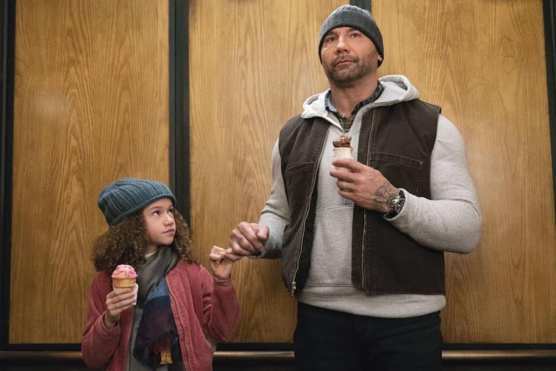 Sophie Newton (Chloe Coleman) and JJ Cena (Dave Bautisa) in My Spy. (PHOTO: Golden Village Pictures)