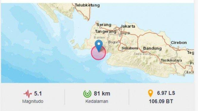 Gempa Magnitudo 5,1 Guncang Banten