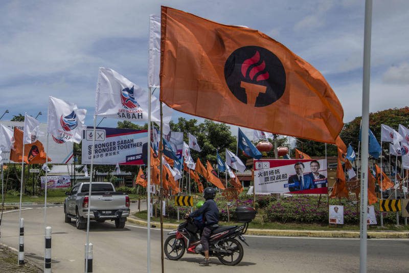General view of Liberal Democratic Party (LDP) flags during the Sabah state election campaign in Luyang, Sabah, September 14, 2020. — Picture by Firdaus Latif
