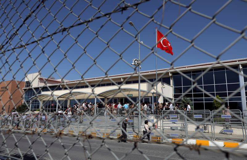 FILE PHOTO: Friends and supporters of the defendants line up to enter the courtroom at the Silivri Prison and Courthouse complex in Silivri near Istanbul