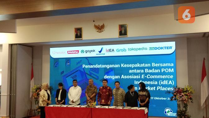 Badan Pengawas Obat dan Makanan Republik Indonesia menjalin kerjasama dengan asosiasi E-Commerce Indonesia (Giovani Dio Prasasti/Liputan6.com)
