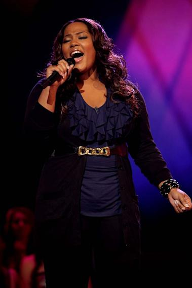 Joanne Borgella performs as one of the top 24 contestants on the 7th season of American Idol.