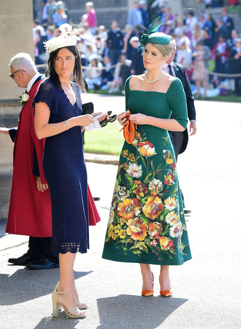 WINDSOR, UNITED KINGDOM - MAY 19: Lady Kitty Spencer (right) arrives at St George's Chapel at Windsor Castle before the wedding of Prince Harry to Meghan Markle on May 19, 2018 in Windsor, England. (Photo by Ian West - WPA Pool/Getty Images)