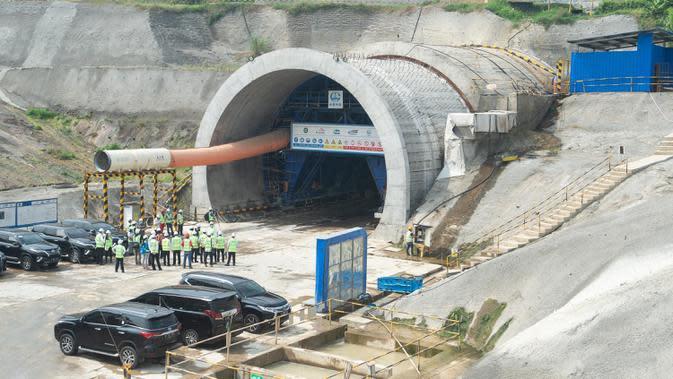 Lokasi pembangunan Terowongan No. 10 dari proyek kereta cepat Jakarta-Bandung, 28 Juni 2020. Jalur kereta cepat Jakarta-Bandung memiliki 13 terowongan. (Xinhua/Du Yu)