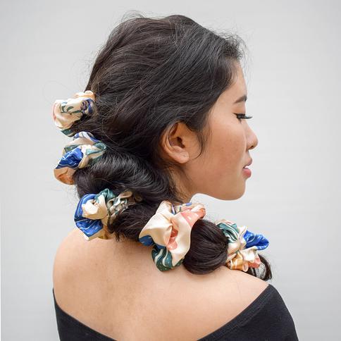 Cactus print cotton luxury hair Scrunchie  hair tie