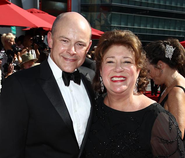 From left, Rob Corddry and Margo Martindale arrive at the 2013 Primetime Creative Arts Emmy Awards, on Sunday, September 15, 2013 at Nokia Theatre L.A. Live, in Los Angeles, Calif. (Photo by Matt Sayles/Invision for Academy of Television Arts & Sciences/AP Images)