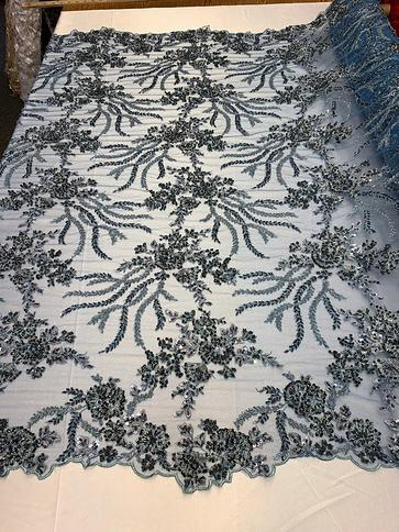 LACITYFABRIC Floral Beaded Mesh LaceNavy BlueEmbroider Lace Fabric By The YardFlower Mesh Bridal Dress LacePromNightgownTablecloths
