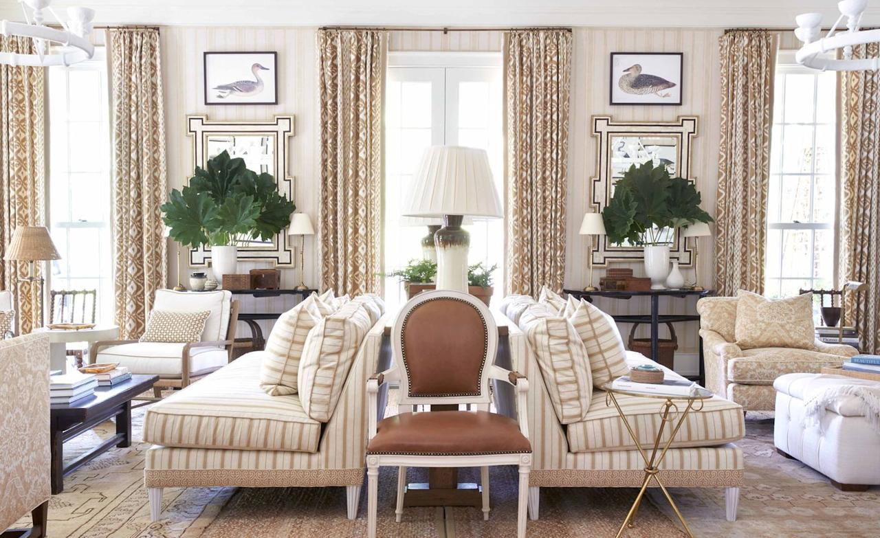"<p>It's almost a given that every room showcased in Sikes's new book is beautiful. But what makes Sikes's beautiful spaces so utterly uplifting is that comfort is <em>never</em> compromised. Here, a pair of back-to-back sofas <a href=""https://www.veranda.com/home-decorators/a32356068/how-the-quarantine-will-change-home-design/"" target=""_blank"">divides a large living room into two cozy, welcoming zones</a>, ideal for accommodating both large groups and solo loungers. </p>"
