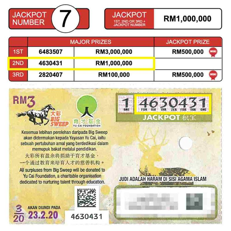 The woman decided to check her ticket results after reading that a Johor Baru resident won the first prize of RM3.5 million in the same draw. ― Picture courtesy of Big Sweep