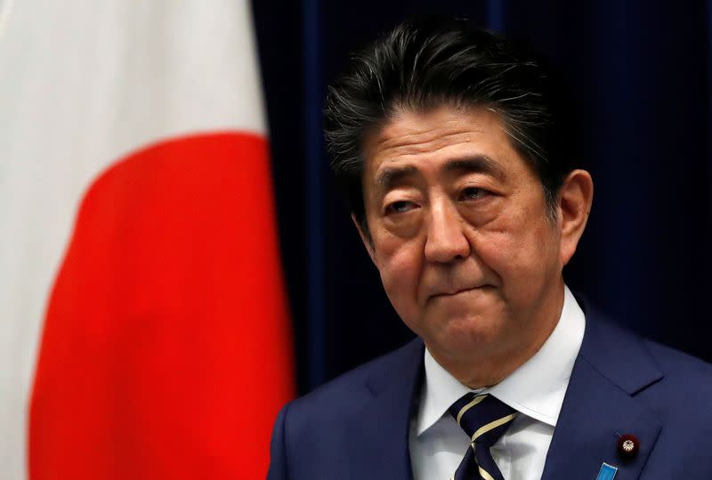 Japan's PM Abe holds news conference on coronavirus disease (COVID-19) in Japan