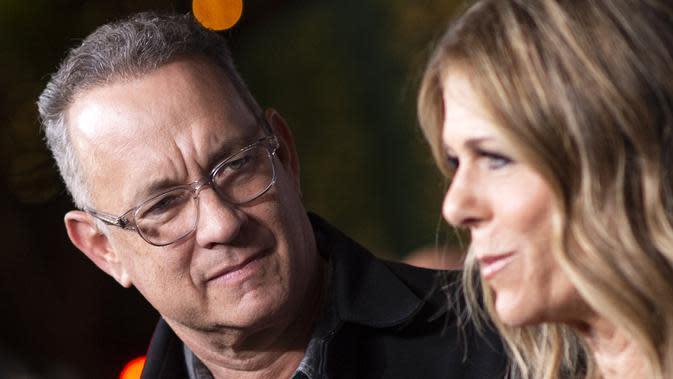 Aktor Tom Hanks dan istri Rita Wilson menghadiri