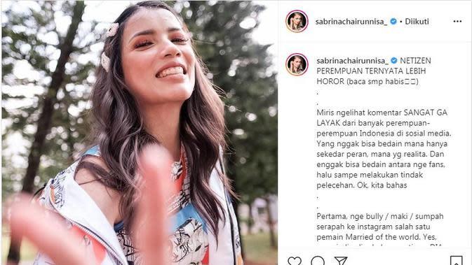 Keresahan Sabrina Chairunnisa terhadap komentar warganet perempuan Indonesia yang disebutnya memalukan (Dok.Instagram/@sabrinachairunnisa/https://www.instagram.com/p/B_jSzq6hA_K/Komarudin)