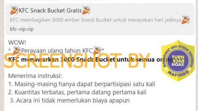 Voucher 3000 Snack Bucket dalam Rangka HUT KFC, Cek Faktanya