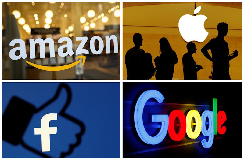 The logos of Amazon, Apple, Facebook and Google are seen in a combination photo from Reuters files. REUTERS/File Photos