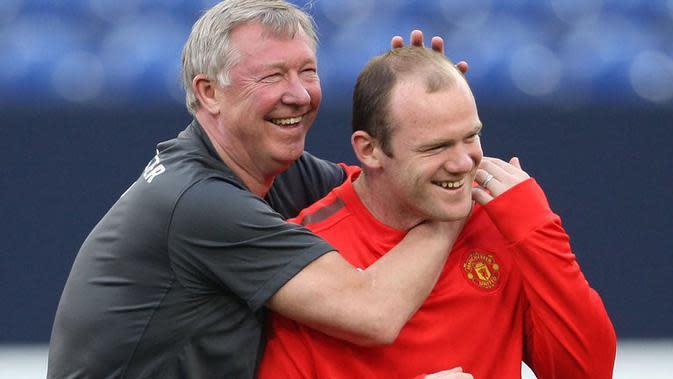 Sir Alex Ferguson (kiri) dan Wayne Rooney (kanan) saat masih berkarier di Manchester United. (Sky Sports).