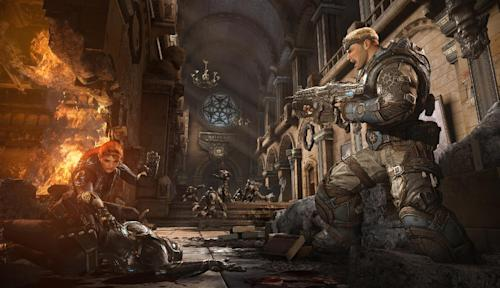 "This video game image released by Microsoft shows a scene from ""Gears of War: Judgment."" (AP Photo/Microsoft)"