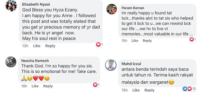 Social media users praise Hyza for her efforts as well as sending messages of love to Anne after being reunited with the note. — Screengrab via Facebook/Anne Malar Yesudass