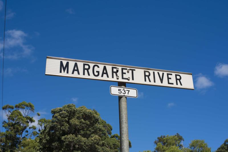 A photo of a street sign in the Margaret River wine region in Western Australia.
