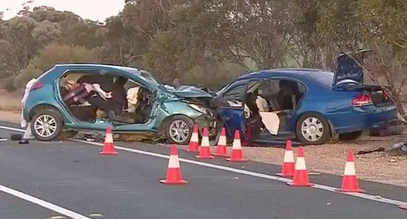 Trish, 78, and Mike McCaullife, 76, from Renmark in the Riverland region, were involved in a crash on the Sturt Highway between Waikerie and Kingston on Murray on Wednesday about 2pm in a Mazda they won in a raffle. Source: 7 News
