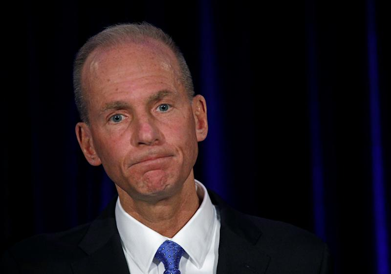 Boeing Co Chief Executive Dennis Muilenburg pauses while speaking at a news conference at the annual shareholder meeting in Chicago, Illinois, U.S., April 29, 2019.