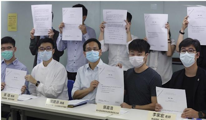 Ip Kin-yuen (seated, centre) said the composition of the council was problematic even before the current fiasco. Photo: K.Y. Cheng