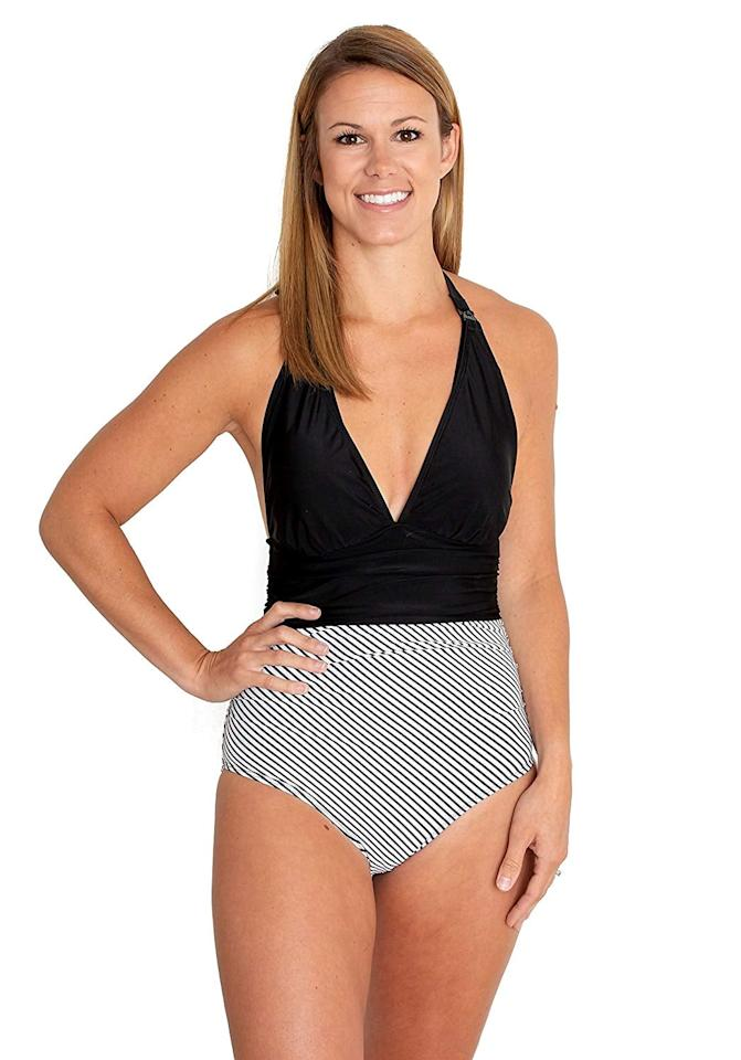 "<p>This <a href=""https://www.popsugar.com/buy/movemama%20Nursing%20One%20Piece%20Halter%20Swimsuit-424766?p_name=movemama%20Nursing%20One%20Piece%20Halter%20Swimsuit&retailer=amazon.com&price=60&evar1=moms%3Aus&evar9=45937901&evar98=https%3A%2F%2Fwww.popsugar.com%2Ffamily%2Fphoto-gallery%2F45937901%2Fimage%2F45940404%2Fmovemama-Nursing-One-Piece-Halter-Swimsuit&list1=summer%2Cswimwear%2Cmom%20shopping&prop13=api&pdata=1"" rel=""nofollow"" data-shoppable-link=""1"" target=""_blank"">movemama Nursing One Piece Halter Swimsuit </a> ($60) has nursing clips that make it super easy to slip the top off.</p>"