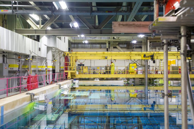 A view of the irradiated fuel bay at the Pickering Nuclear Power Generating Station near Toronto