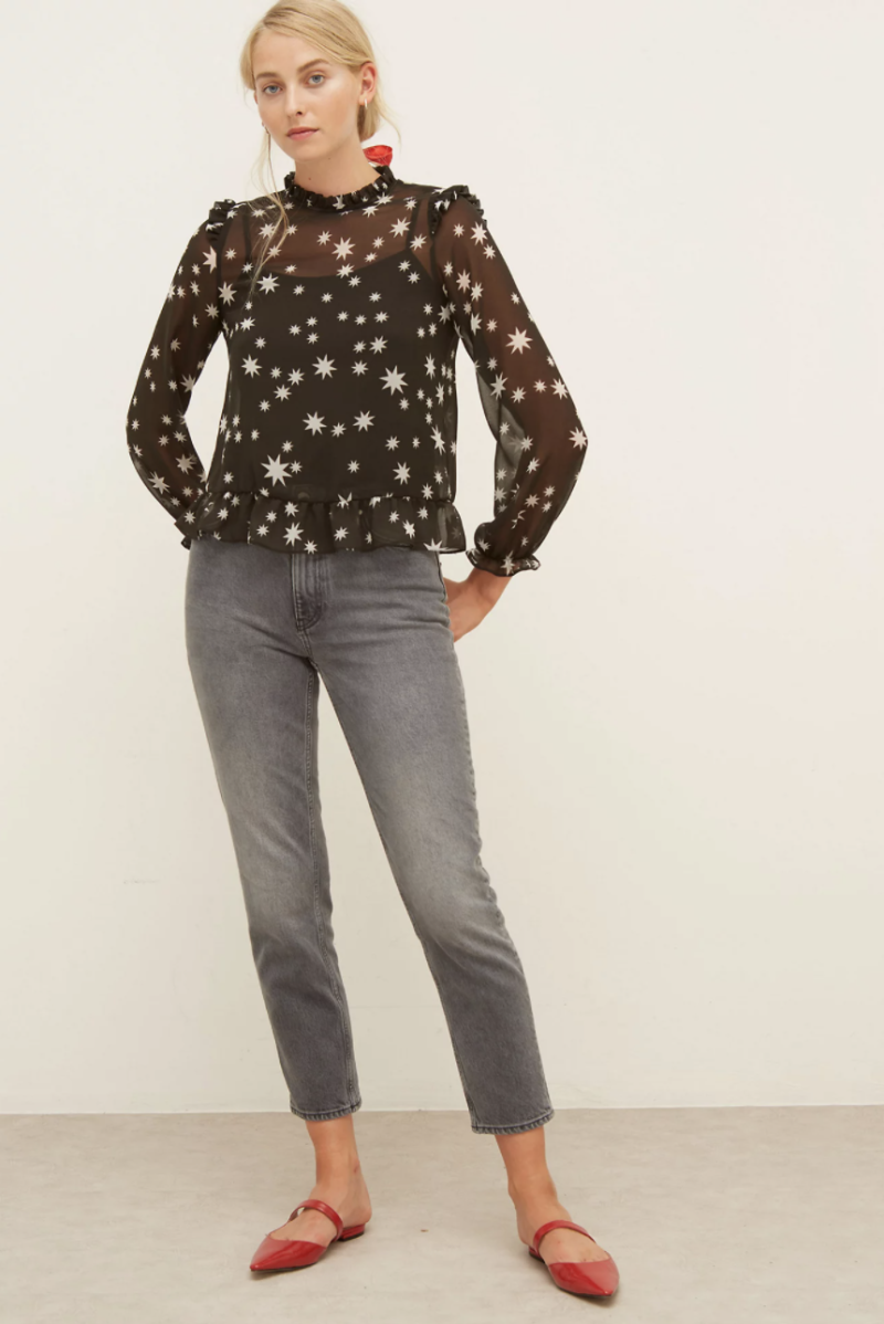 Star Print Frill Neck Long Sleeve Top (Nobody's Child/M&S)