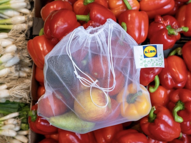 Pictured is a polyester reusable fruit and vegetable bag sold by Lidl.