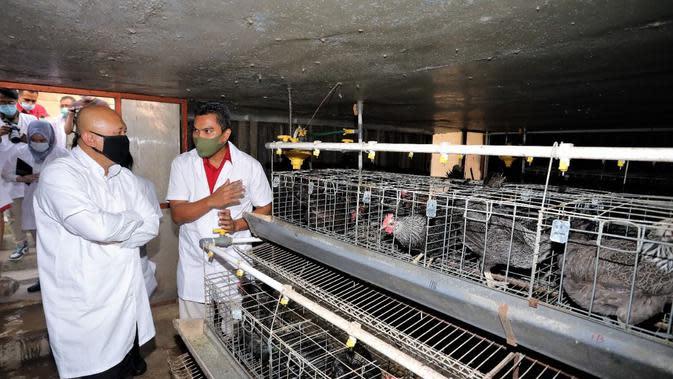 Menteri Koperasi dan UKM Teten Masduki usai meresmikan UKM Rumah Produksi Ayam Kampung Olahan dengan merek NatChick di Bogor, Selasa (1/9/2020).