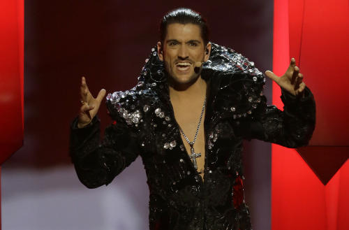 Cezar of Romania performs his song It's My Life during the final of the Eurovision Song Contest at the Malmo Arena in Malmo, Sweden, Saturday, May 18, 2013. The contest is run by European television broadcasters with the event being held in Sweden as they won the competition in 2012. (AP Photo/Alastair Grant)