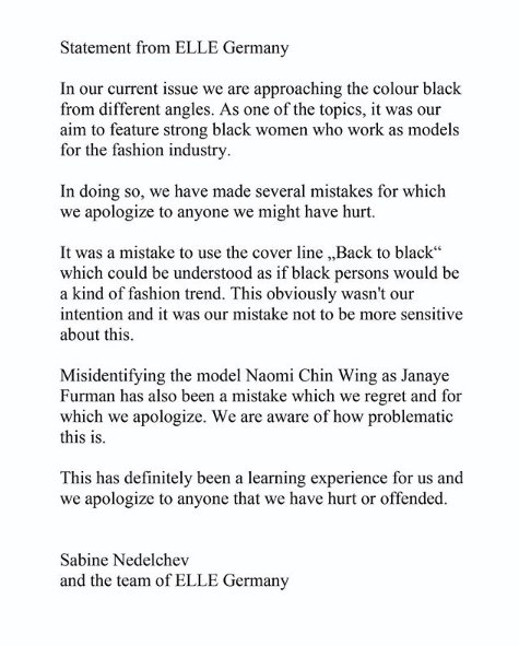 Magazine apologizes for 'Back to Black' issue: 'We are aware of how problematic this is'. Photo: Instagram/ellegermany.