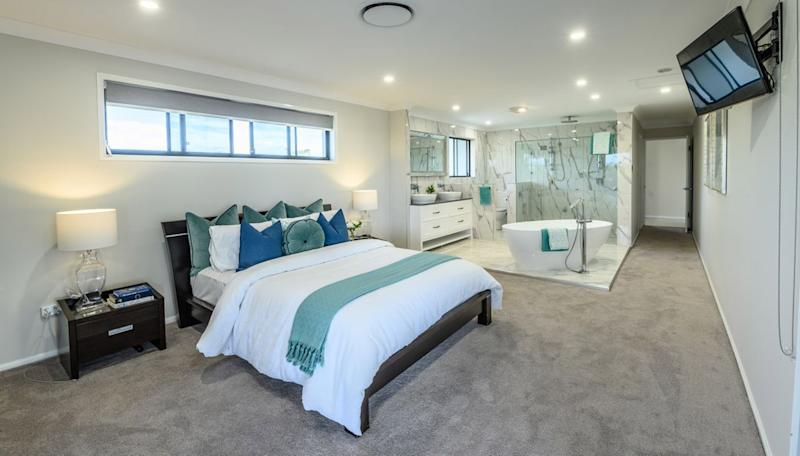 The ensuite is completely visible from the master bedroom of this luxury Wynnum property. Source: Queensland Sotheby's International
