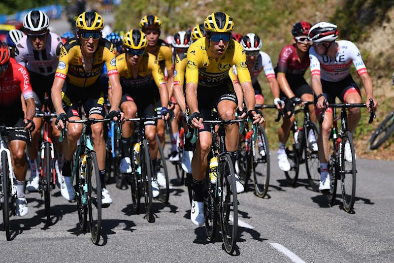 CHARTREUSE FRANCE AUGUST 13 Wout Van Aert of Belgium and Team Jumbo Visma Yellow Leader Jersey during the 72nd Criterium du Dauphine 2020 Stage 2 a 135km stage from Vienne to Col de PorteChartreuse 1316m dauphine Dauphin on August 13 2020 in Chartreuse France Photo by Justin SetterfieldGetty Images